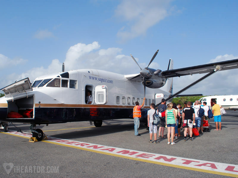 Passengers boarding a private plane from Punta Cana to Samana
