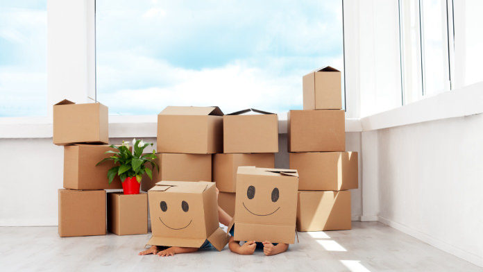 Boxes inside an apartment or house