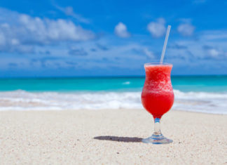 Frozen drink on the sand