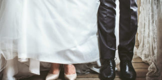 Picture of bride and groom's legs and shoes
